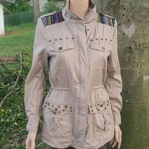Cecico tribal military jacket star studded accents